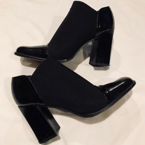 Cap toe Italian made chunky ankle boots booties